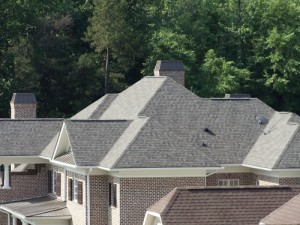 A roof in Charlotte repaired from hail storm damage