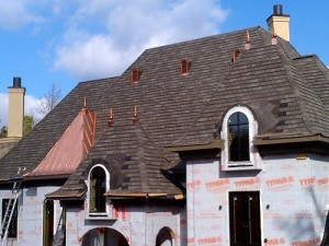 Metal roofing installation to a house